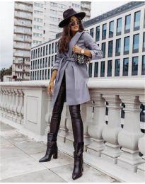 Дамско палто с колан в сиво - код 3839