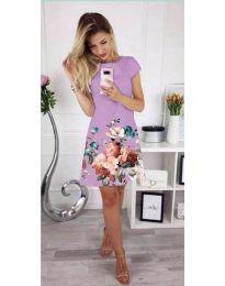 Дамска рокля в лилаво с цветна щампа - код 026