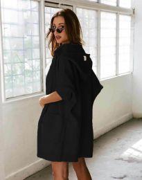 Дамска плетена жилетка с качулка и къс ръкав в черно - код 6055