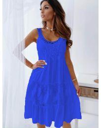 Свободна рокля с дантела в тъмно синьо - код 3232