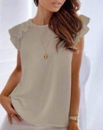 Блуза с ефектни ръкави в бежово - код 3299