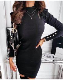Елегантна рокля по тялото в черно - код 8484