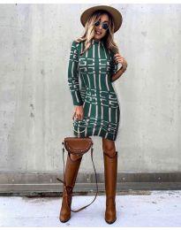 Дамска рокля с ефектен десен в маслено зелено - код 0258