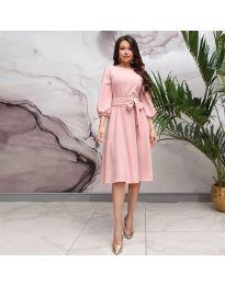 Елегантна рокля в розово - код 4571