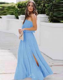 Дамска рокля в светлосиньо с цепка - код 8871