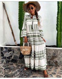 Дълга рокля с атрактивен десен в бяло и маслено зелено - код 3355-6