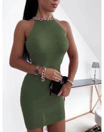 Дамска рокля в маслено зелено - код 9690