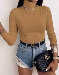 Дамска блуза с поло яка в цвят капучино - код 0410