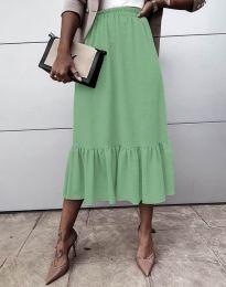 Разкроена дамска пола в цвят мента - код 3463