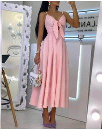 Дълга дамска рокля в розово - код 2239