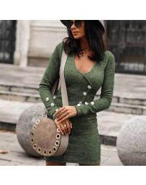 Дамска рокля в маслено зелено - код 4516