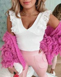 Ефектна блуза с дантелени ръкави в бяло - код 4670