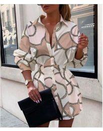 Модна бежова дамска рокля с контрастни елементи - код 213