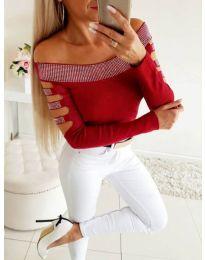 Блуза с паднало деколте и камъни в цвят бордо - код 3470