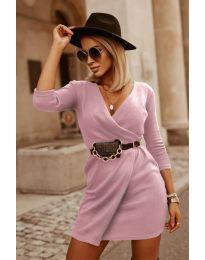 Изчистена рокля в цвят пудра - код 9977