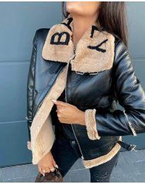 Дамско яке в черно с кафяв пух - код 2610