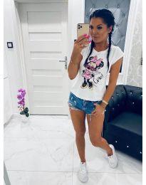 Дамска тениска в бяло с ефектен принт - код 040 - 2