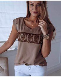 Дамска тениска в кафяво - код 627