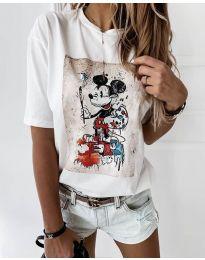 Дамска тениска в бяло с ефектен принт - код 569