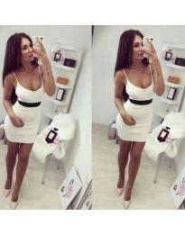 Бяла дамска рокля с презрамки - код 018
