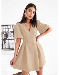 Дамска рокля в бежово - код 0807
