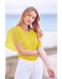 Изчистена дамска тениска с интересен ръкав в жълто - код 527