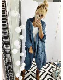 Стилна дамска жилетка с едра плетка в синьо - код 190