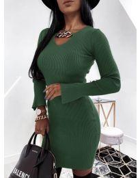 Дамска рокля в маслено зелено - код 5666