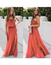 Дълга рокля с цепка в цвят корал - код 061