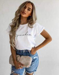 Дамска тениска с принт в бяло - код 4803