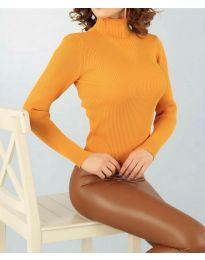 Дамска блуза с поло яка в цвят горчица - код  3800