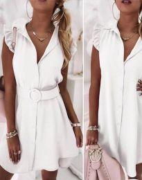 Дамска рокля с колан в бяло - код 7411
