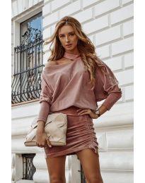 Дамска рокля в цвят пудра - код 8987