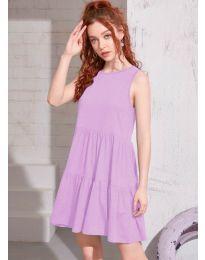 Свободна изчистена рокля в светло лилаво  - код 4471
