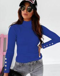 Изчистена дамска блуза в синьо с копчета - код 12072