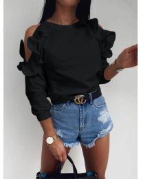 Дамска блуза с ефектни ръкави в черно - код 3434