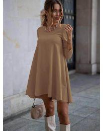 Свободна рокля в цвят капучино - код 371