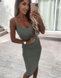 Атрактивна дамска рокля в масленозелено - код 7124