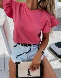 Дамска тениска с ефектни ръкави в розово - код 4352