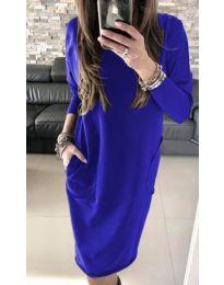 Синя дамска рокля с изрязан гръб - код 507