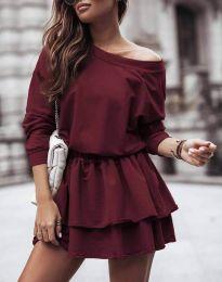 Дамска рокля  в цвят бордо - код 0525