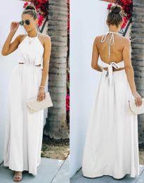 Атрактивна дълга рокля в бяло - код 6121