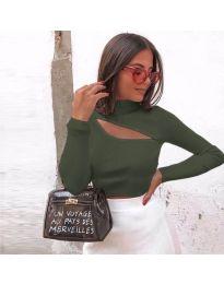 Дамска блуза в маслено зелено - код 9622