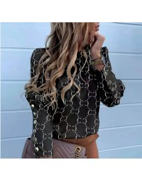 Елегантна дамска риза с ефектен десен в черно - код 780
