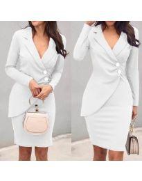 Елегантна рокля с имитация на сако в бяло - код 540