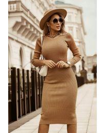 Дамска рокля в светло кафяво - код 8485