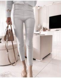 Втален дамски панталон в сребристосиво - код 2788