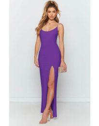 Дълга рокля с цепка в лилаво - код 715