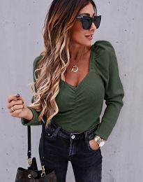 Дамска блуза в маслено зелено - код 394