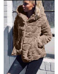 Дамско късо палто в цвят капучино - код 9202